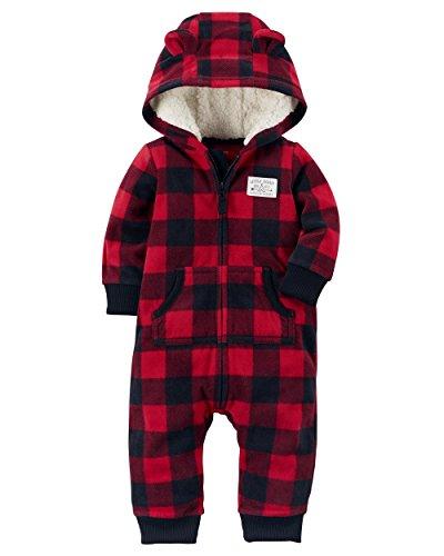 carters-baby-boys-fleece-hooded-romper-jumpsuit-red-black-plaid-9-months