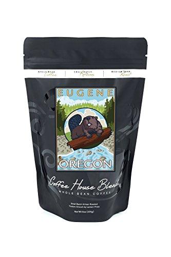 Beaver and River - Eugene, Oregon (8oz Whole Bean Small Batch Artisan Coffee - Bold & Strong Medium Dark Roast w/ - Eugene River