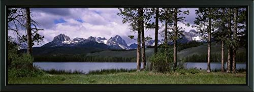 Easy Art Prints Panoramic Images's 'Trees at Lakeside with Mountains, Little Redfish Lake, Sawtooth National Recreation Area, Custer, Idaho' Framed Canvas - 24