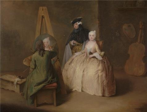 The Perfect Effect Canvas Of Oil Painting 'The Painter In His Studio,about 1741 - 1744 By Pietro Longhi' ,size: 30x39 Inch / 76x100 Cm ,this High Quality Art Decorative Prints On Canvas Is Fit For Nursery Decoration And Home Decor And Gifts (Best Stylus For Puzzle And Dragons)