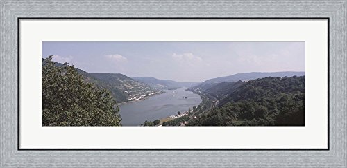 Germany, Bacharach, Lorch, Bridge over the Rhine river by Panoramic Images Framed Art Print Wall Picture, Flat Silver Frame, 35 x 17 inches (River Rhine Framed)