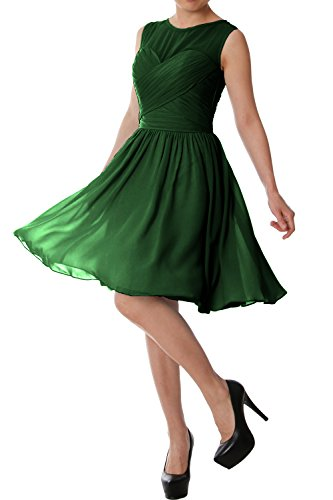 Bridesmaid Short MACloth Chiffon Formal Dress Neck Wedding O Elegant Party Gown Dunkelgrun CCIqS