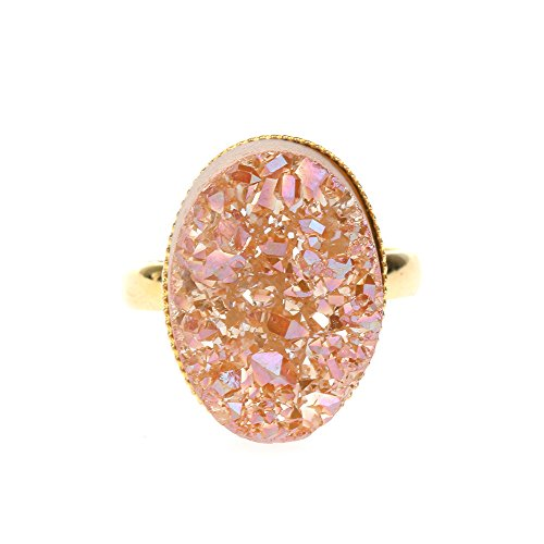 - ShinyJewelry Fashion Adjustable Agate Quartz Druzy Stone Rings for Women Jewelry(Champange, Size Adjustable)