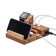 Station de Chargeur, M.Way Station de Recharge Multiple 3 USB Ports Universel Organiseur de Bureau en Bois pour Apple Watch iPhone iPad Smartphones Tablettes 3 USB Ports
