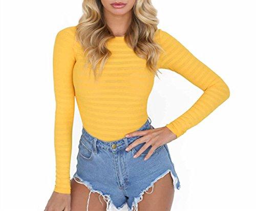 - 418YhHERmdL - Roselux Women's Basic Solid Long Sleeve Round Neck Stretchy Bodysuits Bodycon Shapewear Leotard