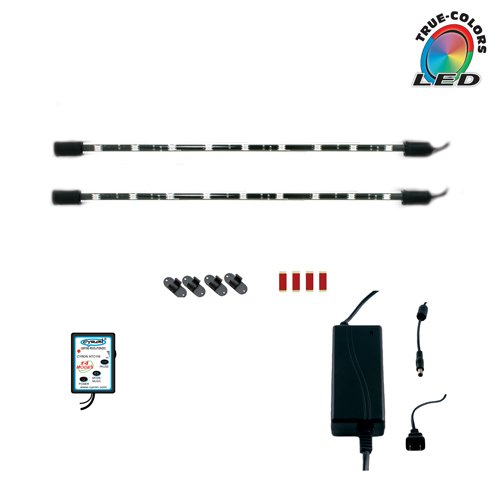 Cyron RGB LED Under Counter Cabinet Dimmable Multicolor Light TV Kitchen Accent Lighting Kit, Wired Controller, 360 Degrees Rotatable, ETL Listed, 2 x 15 Inch LED Bars
