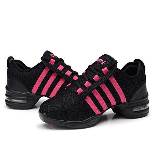 D2c Skönhet Kvinna Mjuk Sula Rand Stil Andas Dans Sneakers Svart