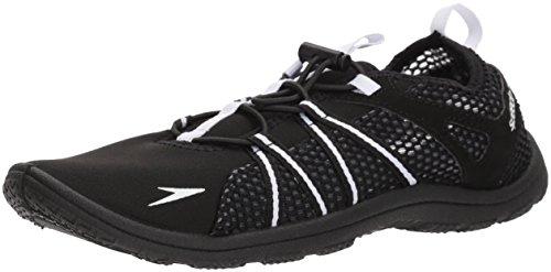 Speedo Women's Seaside Lace Water Shoes, Black/White, 5 C/D