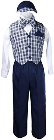 Boyフォーマル結婚式ネイビーブルーギンガムチェックベストBow Suitsセット帽子2t-4t