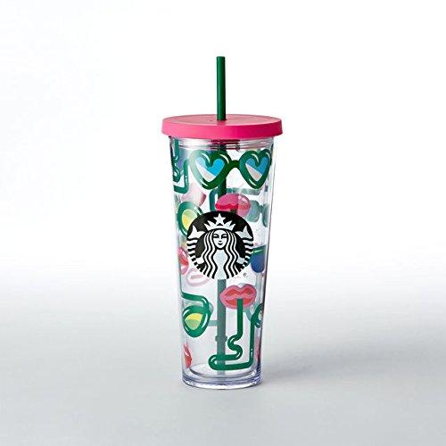 Starbucks Crazy Straws Cold Cup, 24 fl oz Venti Colorful Sum