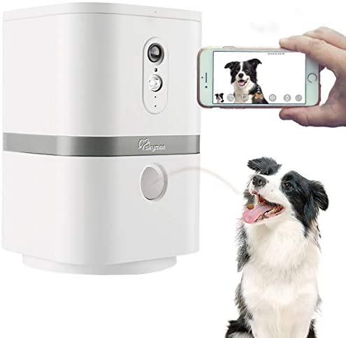 SKYMEE Petalk AI II Dog Camera Automatic Treat Dispenser, WiFi Full HD Pet Camera with 180 Pan Full-Room View,Night Vision,Two Way Audio for Dogs and Cats,Compatible with Alexa