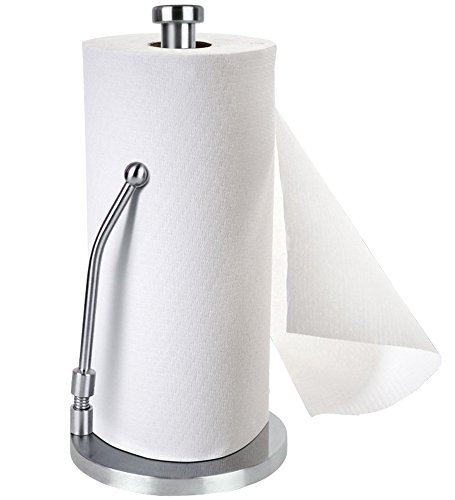 Contemporary Tissue (Fayogoo Stainless Steel Standing Paper Towel Holder Simply Tear Roll Contemporary Paper Towel Holder/ Tissue Holder Countertop)