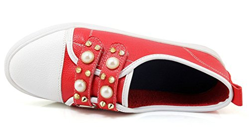 Aisun Women's Casual Low Top Rivet Loafers Flat Shoes Red EXQIh
