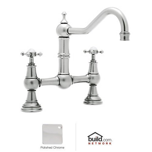 Rohl U.4750X-APC-2 Perrin & Rowe Provence Cross Handle Bridge Kitchen Faucet with Country Spout, Polished Chrome