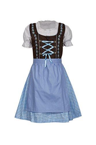 MS-Trachten 3 teiliges Kinder Dirndl Emma (152, braun hellblau)