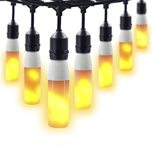 AmeriLuck 24ft Outdoor Patio Deck String Lights, 12 Water-Proof Flame Effect LED Light Bulbs, Heavy-Duty Strands ETL -