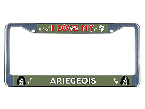 Sign Destination Metal Insert License Plate Frame Ariegeois Dog I Love Weatherproof Car Accessories Chrome 2 Holes Solid Insert Set of 2 1