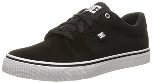 DC Men's Anvil Skateboarding Shoe, Black/White/Black, 12.5 D US