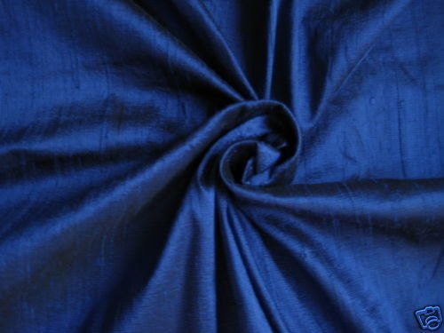 Blue Dupioni Silk (Royal Blue 100% dupioni silk fabric yardage By the Yard 45