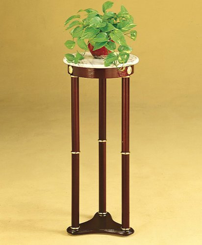 Lake Stevens Plant Stand in Cherry with White Round Marble Top - Round Top Plant Stand