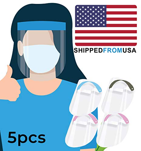 Enzo Face S̲h̲i̲e̲l̲d̲ (Pack of 5) Full Face Protect Eyes - Size S, for Kids & Small Adults - Plastic Face S̲h̲i̲e̲l̲d̲s̲ with Clear Protective Film Elastic Band and Comfort Elasticity 1