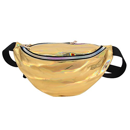 Dolores Women's PVC Hologram Fanny Pack Belt Waist Bum Bag Laser Travel Beach Purse, Gold