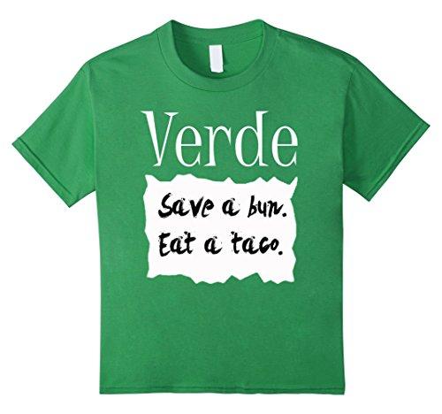 Kids Verde Hot Sauce Packet Halloween Costume Taco T-shirt 12 Grass