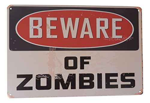 Warning Beware of Zombies Funny Tin Sign Bar Pub Garage Diner Cafe Home Wall Decor Home Decor Art Poster Retro Vintage -