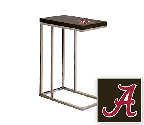 Black Laminate (Formica) and Chrome Finish Slide-Under TV Tray/End Table with Your Choice of a Sports Team Logo (Alabama A) by The Furniture Cove