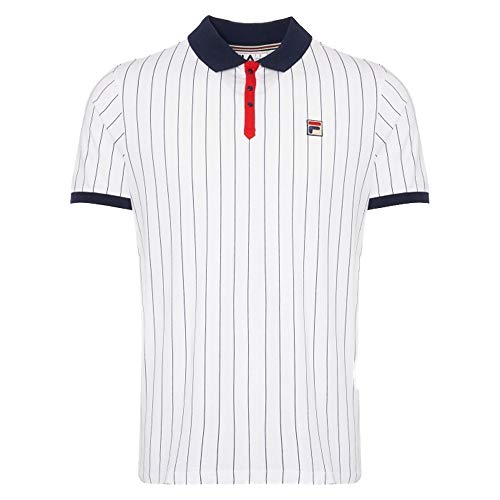 Fila Vintage BB1 Classic Stripe Polo Shirt | White/Peacoat/Red Small White/Cred/Peacoat