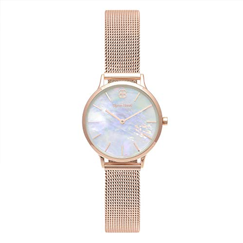(Byron Bond Mark 5 - Luxury 32mm Wrist Watches for Women (Fulham - Rose Gold Case with White Mother of Pearl Dial and Rose Gold Mesh Strap))