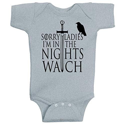 (BeeGeeTees Sorry Ladies I'm in The Nights Watch Game of Thrones Stark Family Inspired Baby Clothing (12 Months, Gray) )