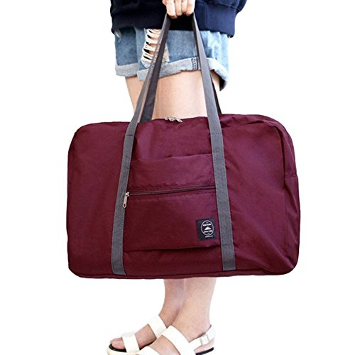 FunYoung Superleichtes Tragbares Handgepäck Faltbare Reisetasche aus Polyester Farbwahl (Weinrot)