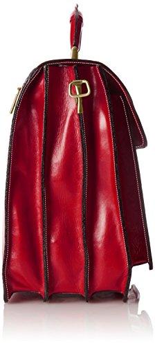Piel Moda Hombre Fabricado Bolso Chicca 100 Rojo Tutto Organizer Italia Verdadera En rosso Cuero De Ctm 85YPBwq