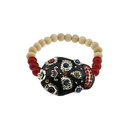 Handpainted Sugar Skull Day of the Dead Stretch Bracelet -