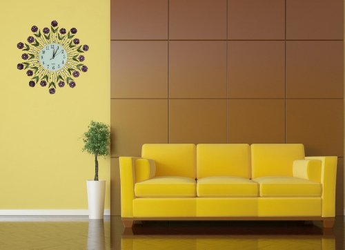 "Amazon.com: Lulu Decor, Flower Burst Wall Clock 24"", White Glass ..."