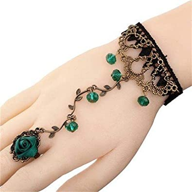 d7595d788e Buy Kingdom Of Arts Green Beads Lace Ring Bracelet for Women Online at Low  Prices in India | Amazon Jewellery Store - Amazon.in