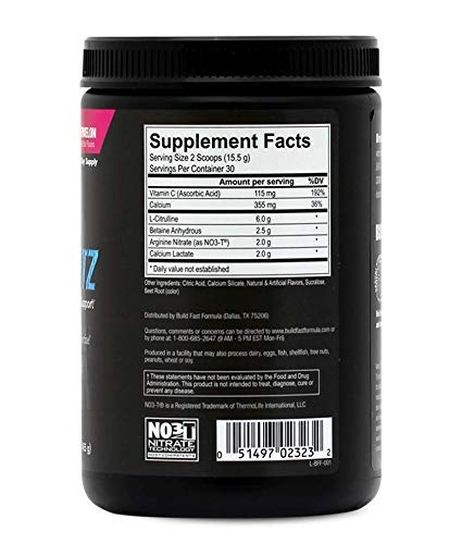VASOBLITZ Award Winning Dual Nitric Oxide Pre Workout with NO3T Arginine Nitrate,L-Citrulline,Betaine Anhydrous,Calcium Lactate & Caffeine Free for Muscular Endurance(30 Serving, Fruit Punch)        by Build Fast Formula (Image #2)