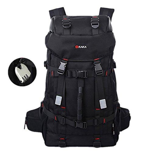 Moonwind 55L Waterproof Travel Hiking Camping Backpack for Men Large Outdoor Field Trekking Rucksack Bag with Lock Black