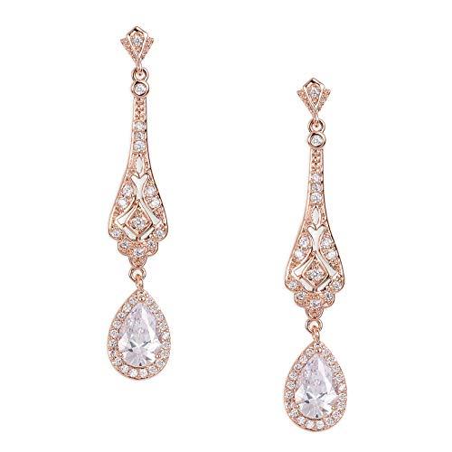 SWEETV Slender Teardrop Cubic Zirconia Vintage Dangle Earrings Rose Gold-Bridal Wedding Style Jewelry for Women Brides,Bridesmaids by SWEETV