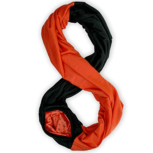 Stadium Series Scarf by WAYPOINT GOODS // Infinity Scarf w/Secret Hidden Zipper Pocket (Black & Orange)
