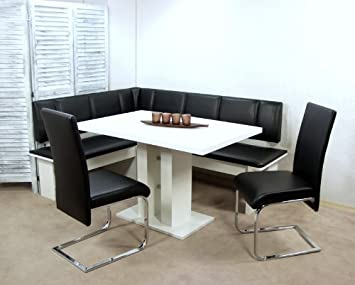 moderne eckbankgruppe weiß schwarz eckbank set eckbankset ... - Eckbankgruppe Küche