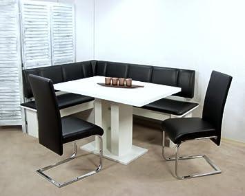 moderne Eckbankgruppe weiß schwarz Eckbank Set Eckbankset ...