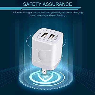 USB Plug, Wall Charger, AILKIN 2.1A Power Wall Home Fast Charging Staion Base Box Cube Block Outlet Brick Replacement for iPhone Cell Phone, Samsung Charger Box, LG and More USB Charge Dock