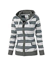 ZEFOTIM Women Ladies Zipper Tops Hoodie Hooded Sweatshirt Coat Jacket Casual Slim Jumper