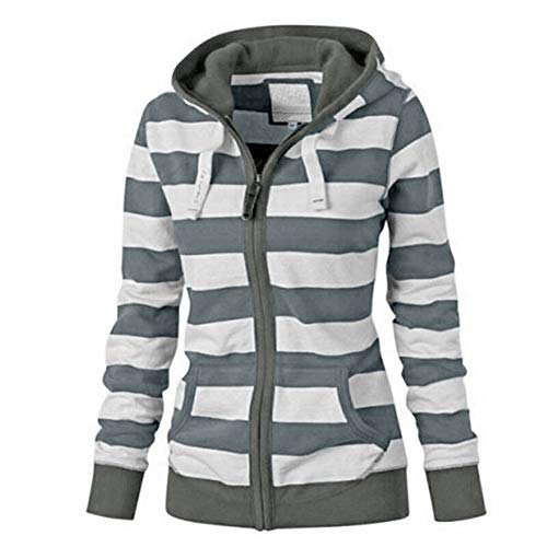 NEARTIME ☀☀Promotion! Womens Plus Size Coat, New Ladies Striped Zipper Hooded Sweatshirt Winter Slim Pocket Jacket