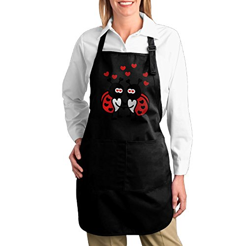 Home Kitchen Server Men Cotton Apron For Cooking Ladybugs In Love Twill Cotton Garden Easy Care Adults Bibs Cotton Apron Cute (Ladybug Apron)