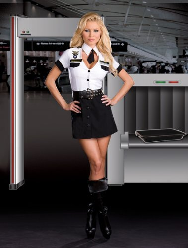 Adult Tsa Officer Costumes (Strip Search Officer Tara U Clothes Off Adult Costume - Large)