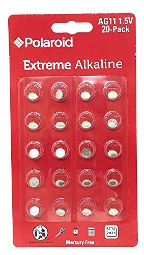 Polaroid Extreme AG11 LR58 361 362 162 LR721 1.5V Button Cell Alkaline Batteries Mercury Free 0% Hg (20-Pack) – 2025 Expiry Date