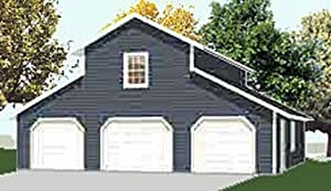 Garage plans three car monitor garage with center loft for One car garage kit with loft